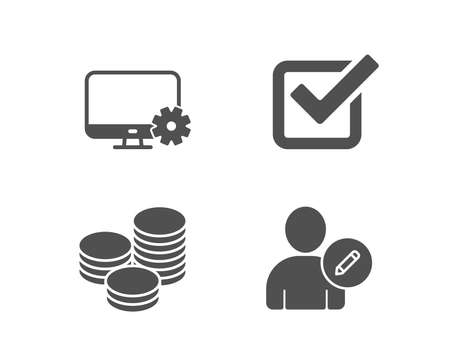 Set of Tips, Monitor settings and Checkbox icons. Edit user sign. Cash coins, Service cogwheel, Approved tick. Profile data.  Quality design elements. Classic style. Vector