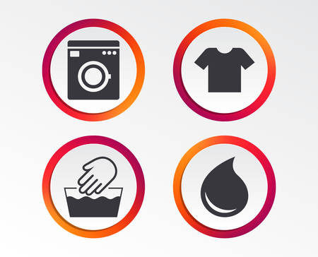 Wash machine icon. Hand wash. T-shirt clothes symbol. Laundry washhouse and water drop signs. Not machine washable. Infographic design buttons. Circle templates. Vector