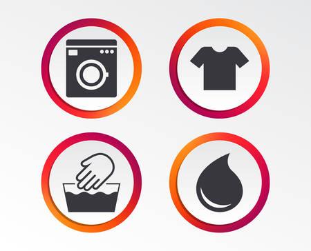 Waschmaschinensymbol. Handwäsche. T-Shirt Kleidung Symbol. Wäschewaschhaus und Wassertropfenschilder. Nicht maschinenwaschbar. Infografik Design-Schaltflächen. Kreisvorlagen. Vektor