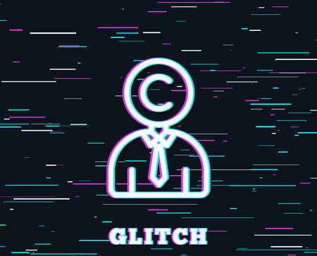 Glitch effect. Ð¡opyrighter line icon. Writer person sign. Copywriting symbol. Background with colored lines. Vector