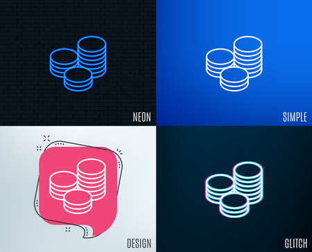 Glitch, Neon effect. Coins money line icon. Banking currency sign. Cash symbol. Trendy flat geometric designs. Vector