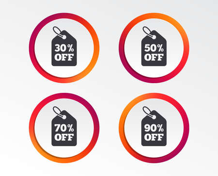 Sale price tag icons. Discount special offer symbols. 30%, 50%, 70% and 90% percent off signs. Infographic design buttons. Circle templates. Vector