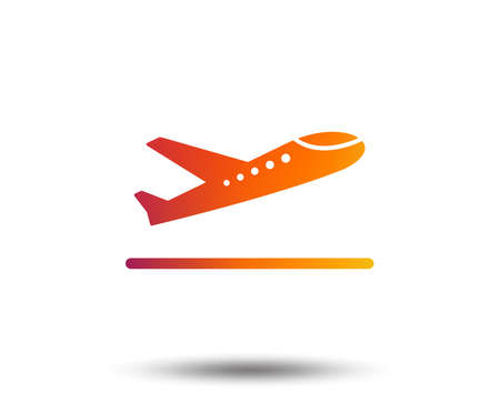 Plane takeoff icon. Airplane transport symbol. Blurred gradient design element. Vivid graphic flat icon. Vector