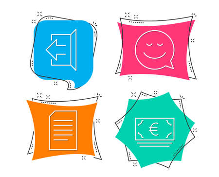 Set of Document, Sign out and Smile icons. Euro currency sign. Information file, Logout, Chat emotion. Eur banking.  Flat geometric colored tags. Vivid banners. Trendy graphic design. Vector Illustration