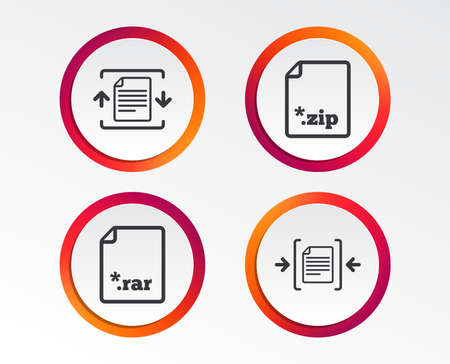 Archive file icons. Compressed zipped document signs. Data compression symbols. Infographic design buttons. Circle templates. Vector