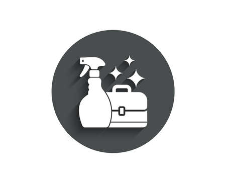 Cleaning spray simple icon. Washing liquid or Cleanser symbol. Housekeeping service sign. Circle flat button with shadow. Vector  イラスト・ベクター素材