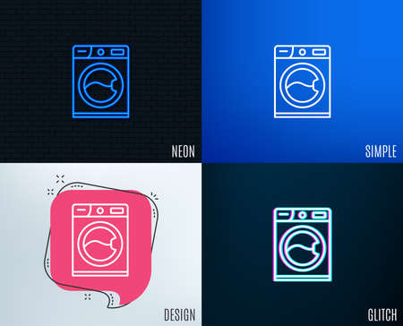Glitch, Neon effect. Washing machine line icon. Cleaning service symbol. Laundry sign. Trendy flat geometric designs. Vector