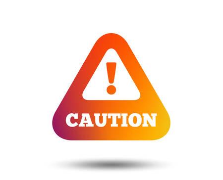 Attention caution sign icon. Exclamation mark. Hazard warning symbol. Blurred gradient design element. Vivid graphic flat icon. Vector Foto de archivo - 105503042