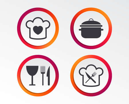 Chief hat with heart and cooking pan icons. Crosswise fork and knife signs. Boil or stew food symbol. Infographic design buttons. Circle templates. Vector Illustration