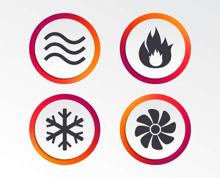 HVAC icons. Heating, ventilating and air conditioning symbols. Water supply. Climate control technology signs. Infographic design buttons. Circle templates. Vector Standard-Bild - 111102185