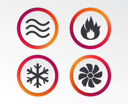 Ikony HVAC. Symbole ogrzewania, wentylacji i klimatyzacji. Zaopatrzenie w wodę. Znaki technologii klimatyzacji. Infografika przyciski projektowe. Szablony kręgów. Wektor