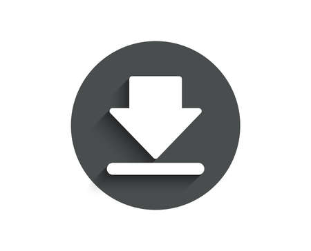 Download simple icon. Internet Downloading sign. Load file symbol. Circle flat button with shadow. Vector