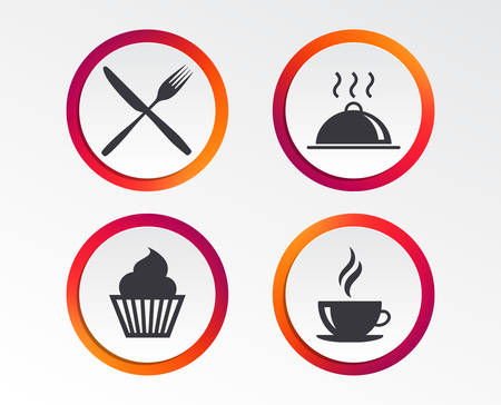 Food and drink icons. Muffin cupcake symbol. Fork and knife sign. Hot coffee cup. Food platter serving. Infographic design buttons. Circle templates. Vector Banque d'images - 111102193