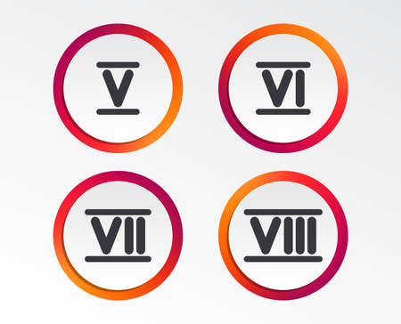 Roman numeral icons. 5, 6, 7 and 8 digit characters. Ancient Rome numeric system. Infographic design buttons. Circle templates. Vector