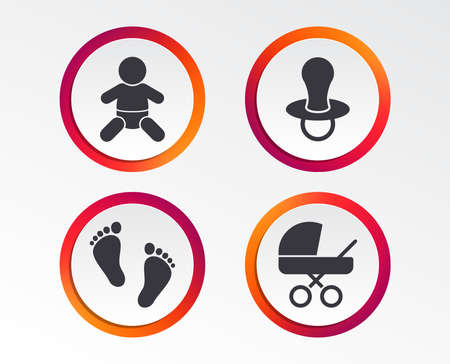 Baby infants icons. Toddler boy with diapers symbol. Buggy and dummy signs. Child pacifier and pram stroller. Child footprint step sign. Infographic design buttons. Circle templates. Vector Illusztráció