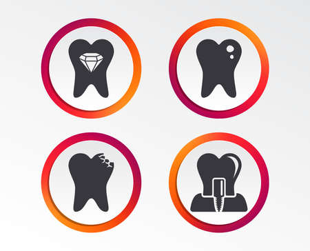 Dental care icons. Caries tooth sign. Tooth endosseous implant symbol. Tooth crystal jewellery. Infographic design buttons. Circle templates. Vector 向量圖像