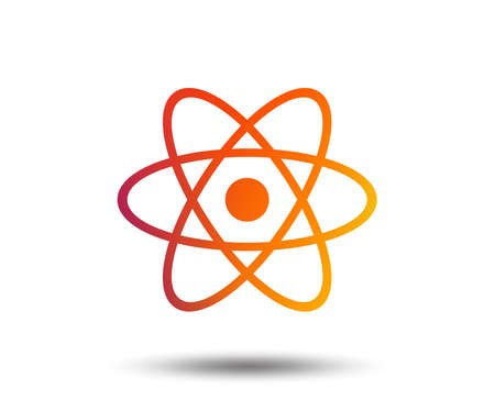 Atom sign icon. Atom part symbol. Blurred gradient design element. Vivid graphic flat icon. Vector Vectores