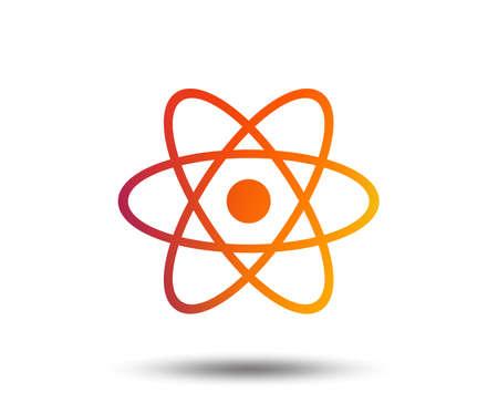 Icona del segno di atomo. Simbolo della parte dell'atomo. Elemento di design sfumato sfocato. Icona piatta grafica vivida. Vettore