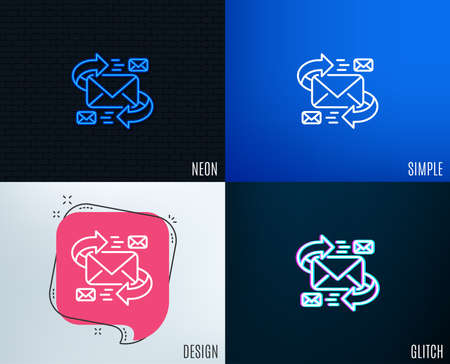 Glitch, Neon effect. Mail line icon. Communication by letters symbol. E-mail chat sign. Trendy flat geometric designs. Vector