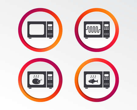Microwave oven icons. Cook in electric stove symbols. Grill chicken and fish signs. Infographic design buttons. Circle templates. Vector