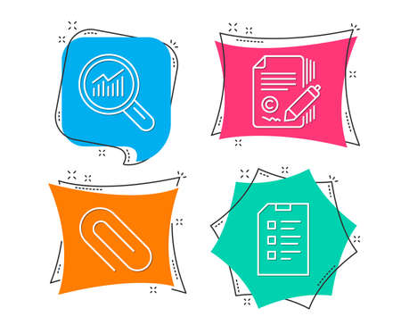 Set of Paper clip, Copywriting and Data analysis icons. Checklist sign. Attach paperclip, Ð¡opyright signature, Magnifying glass. Data list.  Flat geometric colored tags. Vivid banners. Vector