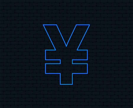 Neon light. Yen sign icon. JPY currency symbol. Money label. Glowing graphic design. Brick wall. Vector 向量圖像