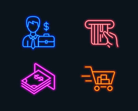 Neon lights. Set of Businessman case, Credit card and Atm money icons. Shopping cart sign. Human resources, Atm payment, Dollar currency. Online buying.  Glowing graphic designs. Vector