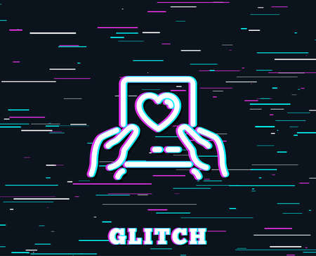 Glitch effect. Valentines day mail line icon. Love letter symbol. Heart sign. Background with colored lines. Vector Illustration