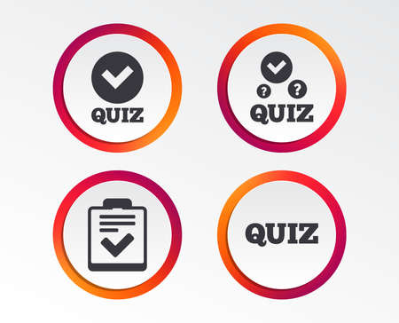 Quiz icons. Checklist with check mark symbol. Survey poll or questionnaire feedback form sign. Infographic design buttons. Circle templates. Vector