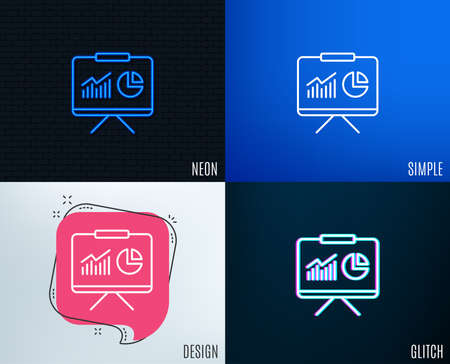 Glitch, Neon effect. Presentation board line icon. Report chart or Sales growth sign. Analysis and Statistics data symbol. Trendy flat geometric designs. Vector