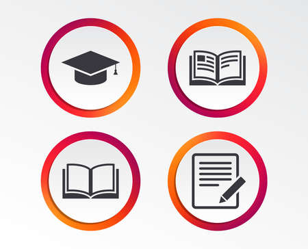Pencil with document and open book icons. Graduation cap symbol. Higher education learn signs. Infographic design buttons. Circle templates. Vector