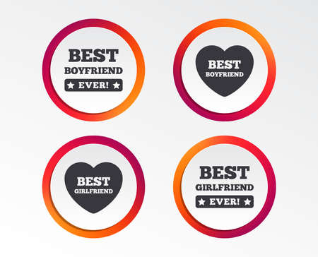 Best boyfriend and girlfriend icons. Heart love signs. Award symbol. Infographic design buttons. Circle templates. Vector