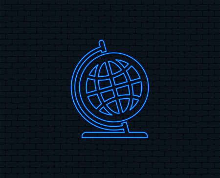 Neon light. Globe sign icon. Geography symbol. Globe on stand for studying. Glowing graphic design. Brick wall. Vector 向量圖像