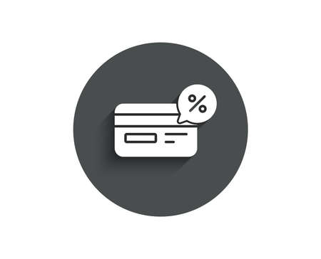 Credit card simple icon. Banking Payment card with Discount sign. Cashback service symbol. Circle flat button with shadow. Vector