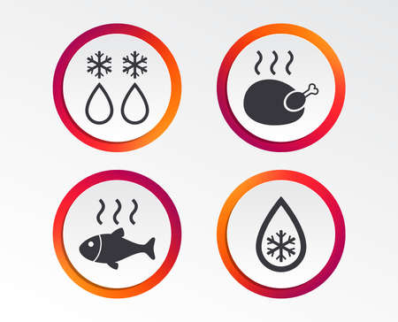 Defrosting drop and snowflake icons. Hot fish and chicken signs. From ice to water symbol. Infographic design buttons. Circle templates. Vector Çizim