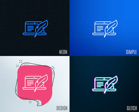 Glitch, Neon effect. Copywriting notebook line icon. Ð¡opyright feather sign. Media content symbol. Trendy flat geometric designs. Vector