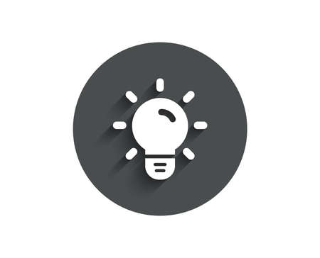 Light Bulb simple icon. Lamp sign. Idea, Solution or Thinking symbol. Circle flat button with shadow. Vector