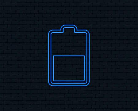 Neon light. Battery half level sign icon. Low electricity symbol. Glowing graphic design. Brick wall. Vector Ilustrace