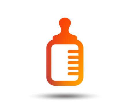 Baby milk bottle icon. Child food symbol. Blurred gradient design element. Vivid graphic flat icon. Vector