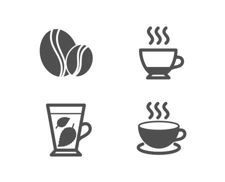 Set of Mint leaves, Espresso and Coffee beans icons. Cappuccino sign. Mentha leaf, Hot drink, Whole bean. Espresso cup. Quality design elements. Classic style. Vector
