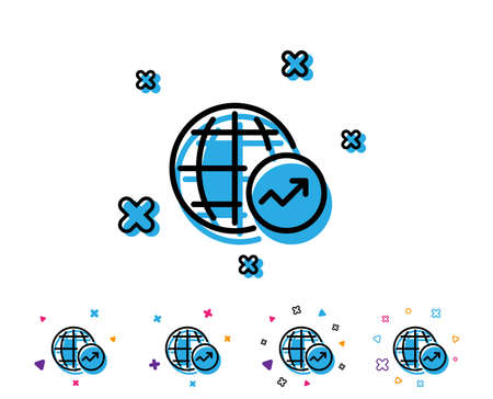 World Statistics line icon. Report chart or Sales growth sign. Data Analysis graph symbol. Line icon with geometric elements. Bright colourful design. Vector Ilustração