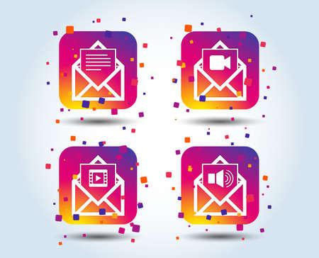 Mail envelope icons. Message document symbols. Video and Audio voice message signs. Colour gradient square buttons. Flat design concept. Vector Illustration