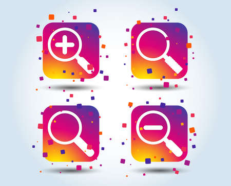 Magnifier glass icons. Plus and minus zoom tool symbols. Search information signs. Colour gradient square buttons. Flat design concept. Vector Illustration