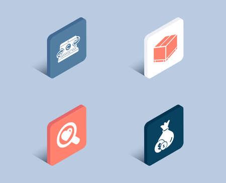 Set of Copywriting notebook, Delivery box and Search love icons. Cash sign. Writer laptop, Cargo package, Dating service. Banking currency.  3d isometric buttons. Flat design concept. Vector