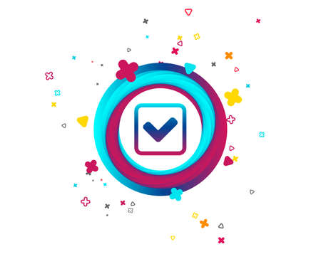 Check mark sign icon. Yes square symbol. Confirm approved. Colorful button with icon. Geometric elements. Vector Illustration