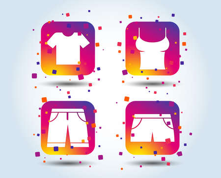 Clothes icons. T-shirt and bermuda shorts signs. Swimming trunks symbol. Colour gradient square buttons. Flat design concept. Vector