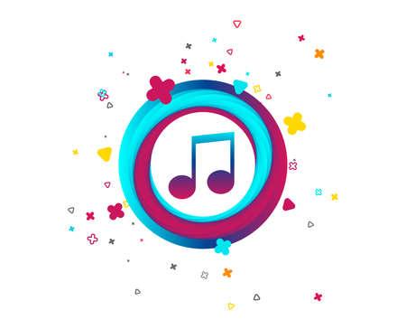 Icône de signe de note de musique. Symbole musical. Bouton coloré avec icône. Éléments géométriques. Vecteur Vecteurs