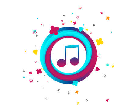 Music note sign icon. Musical symbol. Colorful button with icon. Geometric elements. Vector Vector Illustration