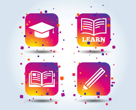 Pencil and open book icons. Graduation cap symbol. Higher education learn signs. Colour gradient square buttons. Flat design concept. Vector
