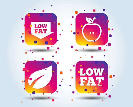 Low fat arrow icons. Diets and vegetarian food signs. Apple with leaf symbol. Colour gradient square buttons. Flat design concept. Vector